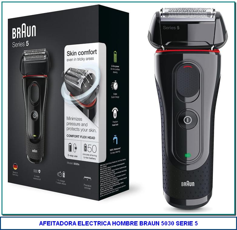 Braun 5030 Series 5 - Afeitadora Eléctrica Hombre, Afeitadora Barba, Recortador de Precisión Extraíble, Recargable e Inalámbrica...