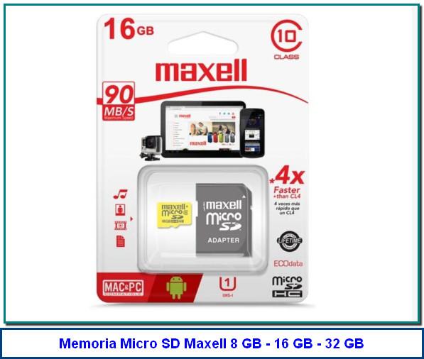 Memoria Micro SD Maxell 16GB Clase 10 La tarjeta de memoria Micro SD de 16 GB Class 10 de MAXELL es ideal para los teléfonos móviles, tabletas y otros dispositivos compatibles con microSD. Ofrece rápidas velocidades de lectura y es compatible con Ready Boost de Windows.
