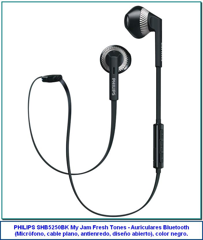 Philips SHB5250BK MyJam Fresh Tones - Auriculares Bluetooth (micrófono, Cable Plano antienredo, diseño Abierto), Color Negro de Philips 3,5 de 5 estrellas 439 valoraciones | 20 preguntas respondidas Precio: 24,99€ Envío GRATIS en pedidos superiores a 29,00€ . Ver detalles Precio final del producto Nuevos y usados (18) desde 12,61€ y Envíos GRATIS para los pedidos superiores a 29,00€ Color: Negro 29,43€ 24,99€ 27,56€ Controladores de altavoz de 14,2 mm para un sonido potente y unos graves ricos Diseñados para adaptarse a la forma de la oreja cómodamente Compatibles con Bluetooth versión 4.1 y HSP/HFP/A2DP/AVRCP Control inalámbrico para música y llamadas El sistema de protección del cable Flexi-Grip aumenta la duración y la conectividad Alcance máximo: 10 m