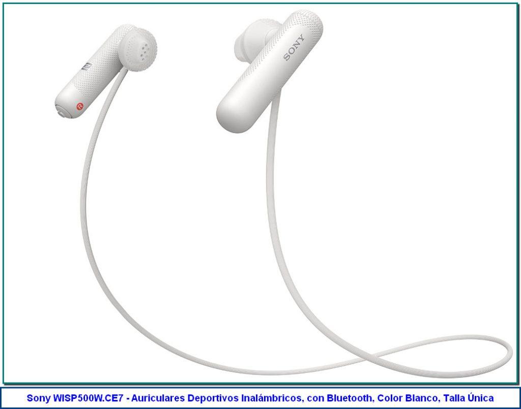 Sony WISP500W.CE7 - Auriculares Deportivos Inalámbricos, con Bluetooth, Color Blanco, Talla Única de Sony 3,5 de 5 estrellas 272 valoraciones | 14 preguntas respondidas Precio recomendado: 90,00€ Precio: 47,99€ Envío GRATIS. Ver detalles Ahorras: 42,01€ (47%) Precio final del producto Nuevos (11) desde 47,99€ + Envío gratis Color: Blanco 47,00€ 47,99€ 48,90€ 48,38€ Libertad inalámbrica con la tecnología Bluetooth y NFC Los diafragmas de tipo abierto de 13.5mm dejan pasar el sonido ambiente Diseño ligero con colocación detrás del cuello y agarre seguro Resistente al sudor y a las salpicaduras con un índice IPX6 Hasta 8 horas de reproducción