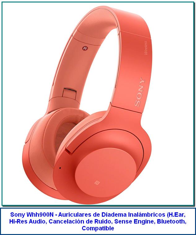Sony Whh900N - Auriculares de Diadema Inalámbricos (H.Ear, Hi-Res Audio, Cancelación de Ruido, Sense Engine, Bluetooth, Compatible