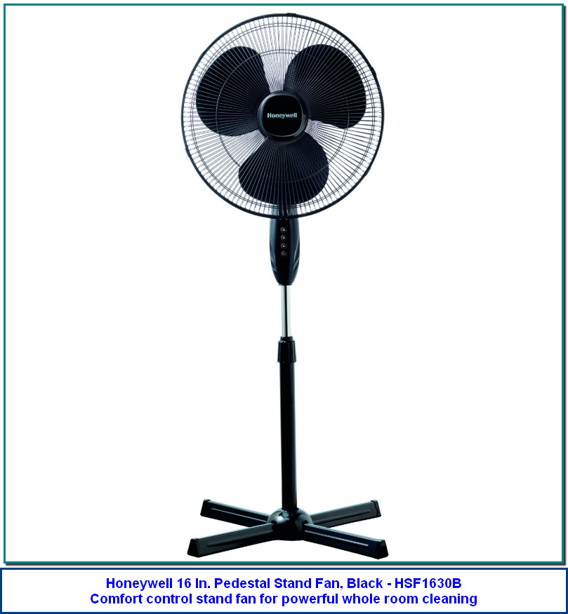 Honeywell 16 In. Pedestal Stand Fan, Black - HSF1630B Comfort control stand fan for powerful whole room cleaning