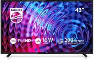 Televisor LED Full HD ultrafino.Disfruta de una mayor sencillez en una gran pantalla. El televisor Philips 5500 ofrece una resolución Full HD, un sonido nítido y una increíble experiencia de visualización. Solo tienes que enchufarlo para empezar a disfrutar de tus programas, películas y juegos con facilidad.